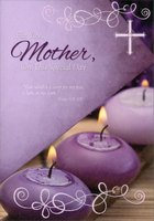3 Purple Candles: Mother (1 card/1 envelope) Designer Greetings Religious Mother's Day Card