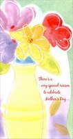 Bright Flowers in Yellow Vase Die Cut (1 card/1 envelope) Designer Greetings Mother's Day Card