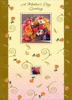 Gold Foil Swirls and Flowers in Frames (1 card/1 envelope) Designer Greetings Mother's Day Card