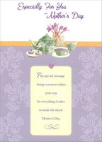 Green Tea Pot and Cups: Especially For You (1 card/1 envelope) Designer Greetings Mother's Day Card