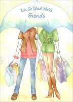 Friends Under Umbrella (1 card/1 envelope) Designer Greetings Mother's Day Card