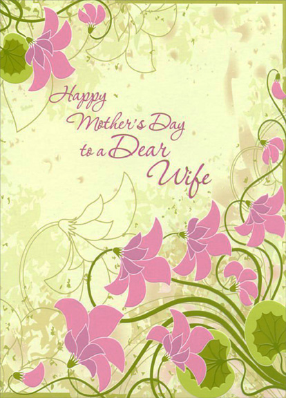pink flowers on shades of green wife mother s day card by designer