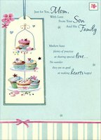 Cupcakes on 3 Tier Serving Plates: Mom (1 card/1 envelope) Designer Greetings Mother's Day Card