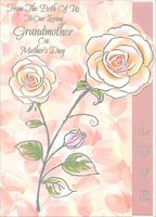 Die Cut Silver Foil Outlined Roses: Grandmother (1 card/1 envelope) Designer Greetings Mother's Day Card