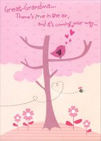 Bird Singing on Tree Branch: Great-Grandma (1 card/1 envelope) Designer Greetings Mother's Day Card