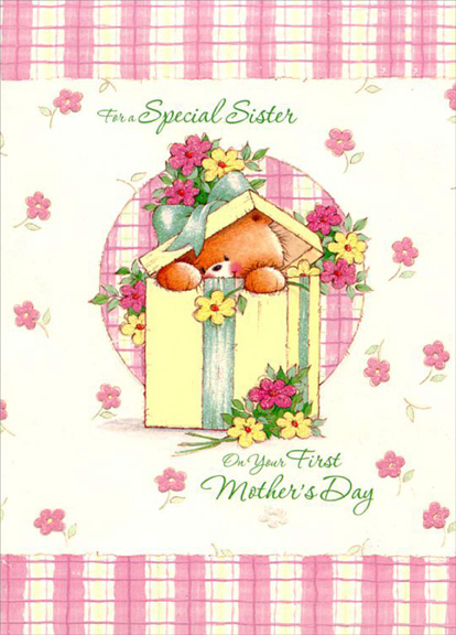 Bear in present sisters 1st mothers day card by designer greetings bear in present sisters 1st mothers day card m4hsunfo