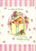 Bear in Present: Sister's 1st (1 card/1 envelope) Designer Greetings Mother's Day Card