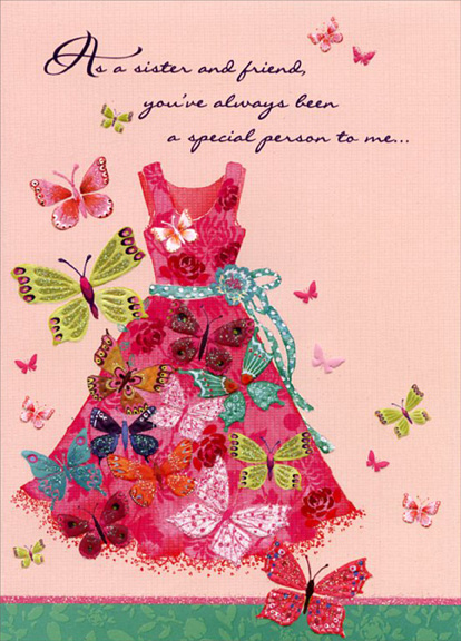 Butterflies and red dress sister designer greetings mothers day greeting cards shipped using usps first class package are normally shipped in a white or kraft non bendable mailer and cards shipped via usps priority mail m4hsunfo