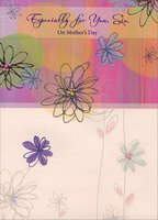 Swirling Glitter Flowers: Sis (1 card/1 envelope) Designer Greetings Mother's Day Card