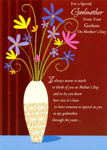 Colorful flowers and brown stripes godmother mothers day card by colorful flowers and brown stripes godmother mothers day card by designer greetings m4hsunfo