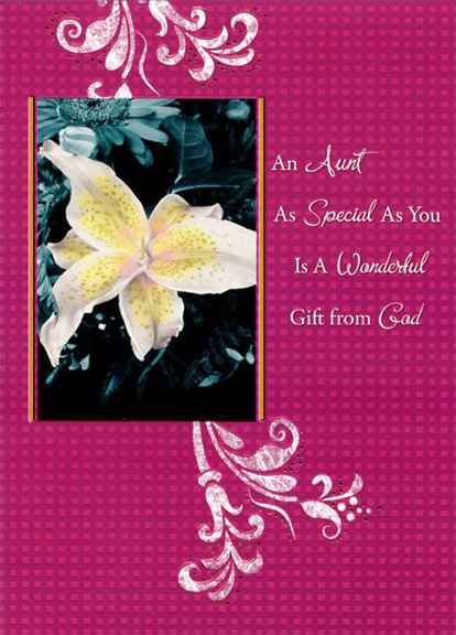 White flower on burgundy aunt designer greetings religious greeting cards shipped using usps first class package are normally shipped in a white or kraft non bendable mailer and cards shipped via usps priority mail m4hsunfo