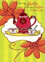 Tea Kettle, Cups and Tray: Mom (1 card/1 envelope) Designer Greetings Mother's Day Card