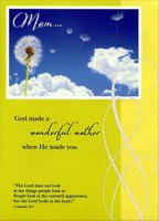 Dandelion and Clouds: Mom (1 card/1 envelope) Designer Greetings Religious Mother's Day Card