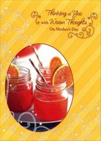Juice Glasses and Straws: Thinking of You (1 card/1 envelope) Designer Greetings Mother's Day Card