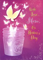 Jar with Tip On Butterfly and Pink Gems: Mom (1 card/1 envelope) Designer Greetings Premier Collection Mother's Day Card