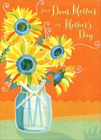 Sunflower Jar with White Ribbon: Mother (1 card/1 envelope) Designer Greetings Premier Collection Mother's Day Card