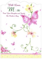 Pink Butterfly and Yellow Flower Die Cut Edge: Mom (1 card/1 envelope) Designer Greetings Mother's Day Card