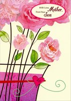 Large Pink Flowers in Black Framed Vase: Mother (1 card/1 envelope) Designer Greetings Mother's Day Card