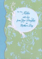Silver Foil Trim and Glitter on Blue and Green Wallpaper: Mother (1 card/1 envelope) Designer Greetings Mother's Day Card