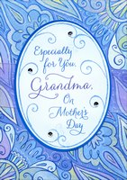 Die Cut Oval with Purple Ribbon and Gems Handmade: Grandma (1 card/1 envelope) Designer Greetings Mother's Day Card