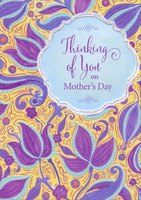 Purple and Blue Swirling Flowers on Yellow: Thinking of You (1 card/1 envelope) Designer Greetings Mother's Day Card