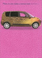 Minivan with Spot UV Swirls on Pink: Mom (1 card/1 envelope) Designer Greetings Funny Birthday Card
