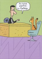 Tested Positive for Catnip (1 card/1 envelope) Designer Greetings Funny Cat Birthday Card