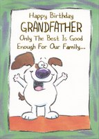 White Dog with Big Smile: Grandfather (1 card/1 envelope) Designer Greetings Funny Birthday Card