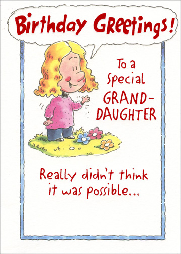 Girl And Three Flowers Granddaughter Birthday Card By Designer