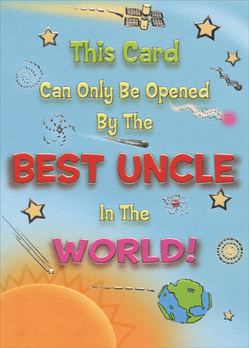 Silver Foil Best Uncle In The World Funny Birthday Card By Designer Greetings