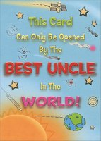Silver Foil Best Uncle in the World (1 card/1 envelope) Designer Greetings Funny Birthday Card