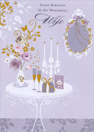 Vase Flower Candles And Champagne On Table Wife Birthday Card By