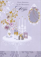 Vase, Flower, Candles and Champagne on Table: Wife (1 card/1 envelope) Designer Greetings Birthday Card