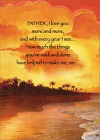Beach with Orange and Yellow Sky: Father (1 card/1 envelope) Designer Greetings Birthday Card