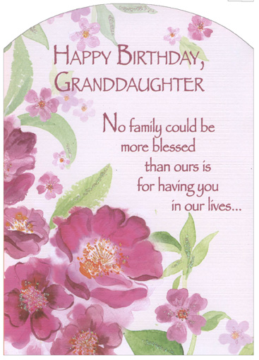 Pink Flowers With Glitter Z Fold Granddaughter Birthday Card