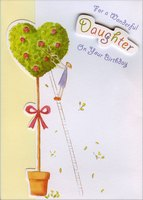 Die Cut Tree with Gold Foil and Tip On Banner Handmade: Daughter (1 card/1 envelope) Designer Greetings Birthday Card