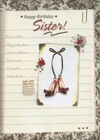 To Do List with Gems, Tip On Shoes and Gold Foil Handmade: Sister (1 card/1 envelope) Designer Greetings Birthday Card