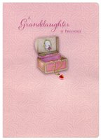 Pink Gem Silver Foil Necklace in Music Box Handmade: Granddaughter (1 card/1 envelope) Designer Greetings Birthday Card