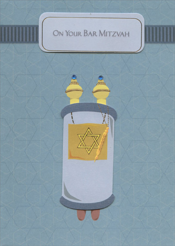 Tip On Torah Scroll And Banner With Blue Gems Handmade