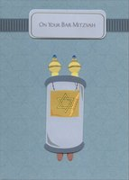 Tip On Torah Scroll and Banner with Blue Gems Handmade (1 card/1 envelope) Designer Greetings Bar Mitzvah Card