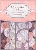 Sparkling Floral with Tip On Banner on Pink, Ribbons and Gems Handmade: Daughter (1 card/1 envelope) Designer Greetings Birthday Card