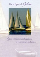 Two Sailboats in Die Cut Window: Godson (1 card/1 envelope) Designer Greetings Birthday Card