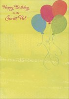 Four Colorful Balloons: Secret Pal (1 card/1 envelope) Designer Greetings Birthday Card
