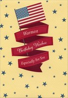 US Flag with Red Foil Banners and Blue Stars: Military / Soldier (1 card/1 envelope) Designer Greetings Birthday Card
