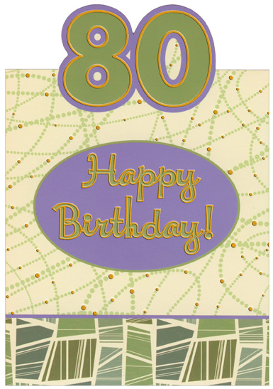 Green And Purple Die Cut Top Fold With Gold Foil 80th Birthday