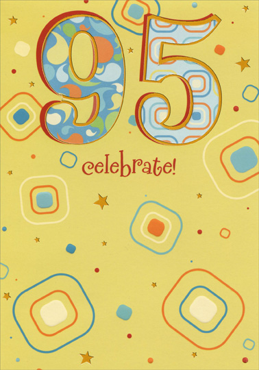 Die Cut 95 With Silver Foil Trim On Yellow 95th Birthday Card By