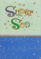Super Son Green and Blue Embossed with Gold Foil (1 card/1 envelope) Designer Greetings Birthday Card