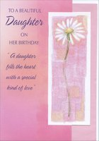 Tall Daisy with Glitter in White Frame Die Cut: Daughter (1 card/1 envelope) Designer Greetings Birthday Card