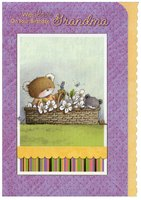 Bears in Flower Basket with Scalloped Edge: Grandma (1 card/1 envelope) Designer Greetings Birthday Card