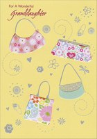 Four Die Cut Purses with Silver Foil Trim: Granddaughter (1 card/1 envelope) Designer Greetings Birthday Card